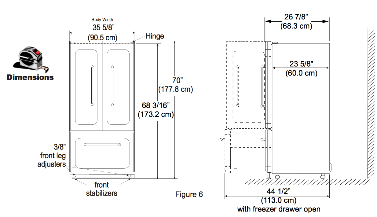 Fridge dimensions the image kid has it for French door dimensions