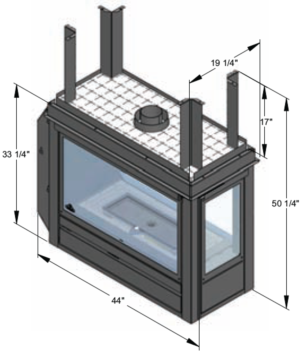 Lennox 3 Sided Propane Fireplace: J.A. Roby Mistral Peninsula Direct Vent At Obadiah's