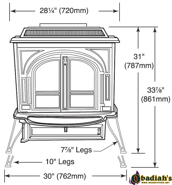 Dimensions: Clearances: Vermont Castings Vigilant Coal Stove - Vermont Castings Vigilant Coal Stove By Obadiah's Woodstoves