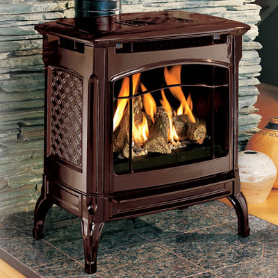 Hearthstone Champlain 8301 Cast Iron Direct Vent Gas Stove In Brown Enamel