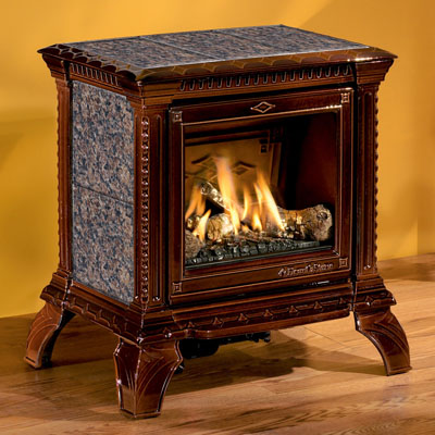 Hearthstone Tribute 8050 Soapstone Direct Vent Gas Stove In Brown Enamel With Autumn Brown Stone
