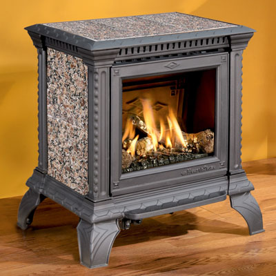 Hearthstone Tribute 8050 Soapstone Direct Vent Gas Stove In Black Matte With Autumn Brown Stone