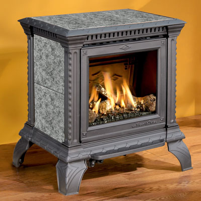 Hearthstone Tribute 8050 Soapstone Direct Vent Gas Stove In Black Matte With Titanium Pearl