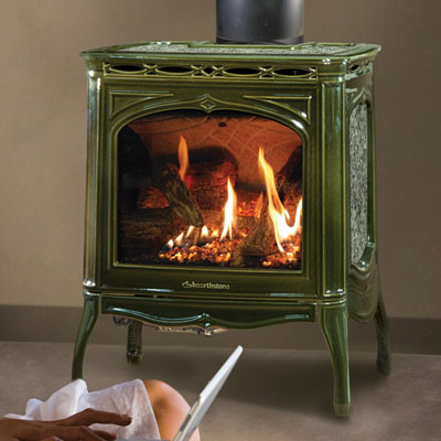 Hearthstone Tucson 8702 Gas Stove with Basil Enamel and Antique Pine Green Stone Set