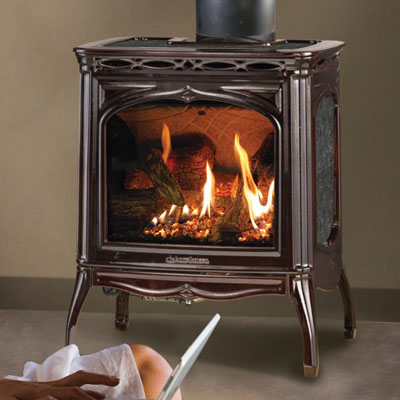 Hearthstone 8702 Tucson Gas Stove (in Brown Enamel with Kodiak Brown Stone)