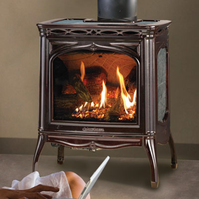 Hearthstone Tucson 8702 Soapstone Direct Vent Gas Stove In Brown Enamel and Gray Soapstone
