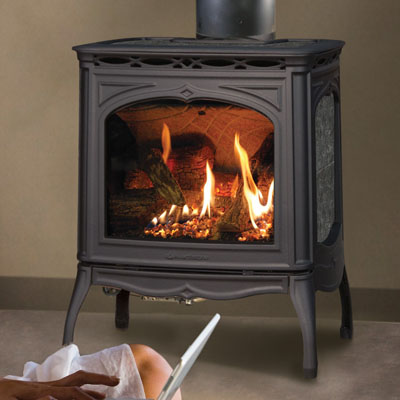 Hearthstone Tucson 8702 Soapstone Direct Vent Gas Stove In Black Matte and Kodiak Brown Stone Set