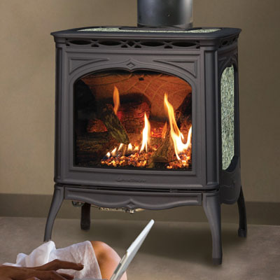 Hearthstone Tucson 8702 Soapstone Direct Vent Gas Stove In Black Matte and Antique Pine Green Stone Set