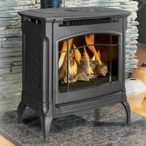 Hearthstone Champlain 8301 Cast Iron Direct Vent Gas Stove In Black Matte