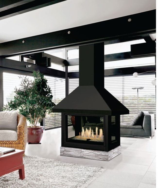 J a roby pampero direct vent fireplace by obadiah 39 s for Four sided fireplace