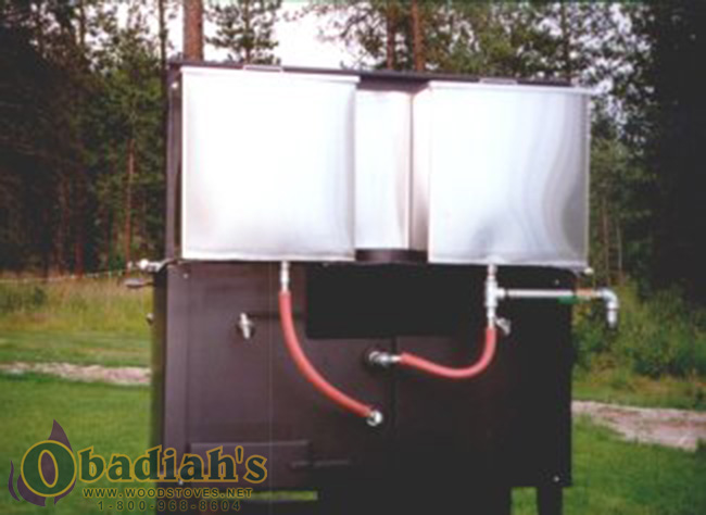 The Kitchen Queen has an optional 17 or 24 gallon water reservoir system  that heats water via the radiant heat from the stove. - Kitchen Queen Wood Cookstove - Not Available By Obadiah's Woodstoves