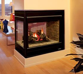 EDVPF Astria Three-Sided Peninsula Gas Fireplace
