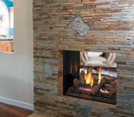 The Astria Montebello Superior DRT63ST See-Through Direct Vent Gas Fireplace features expansive two-sided opening and stunningly realistic fire presentation.