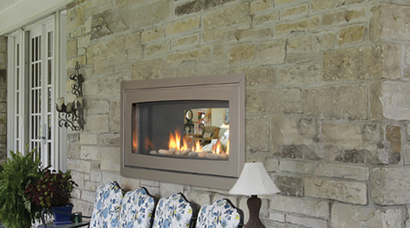 "Majestic Echelon 42"" Linear Contemporary See-Thru Direct Vent Gas ..."
