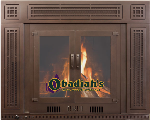 Obadiah's Fireplace Conversion Cookstove - red brown