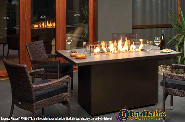 The Regency Plateau PTO Outdoor Gas Burner Linear Fireplace features a beautiful modern design that