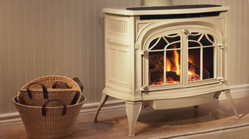 Image result for Vermont Castings Radiance stove- Biscuit porcelain, with blower and remote