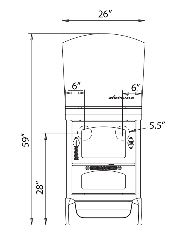 de Manincor Domina Wood Cookstove Outline