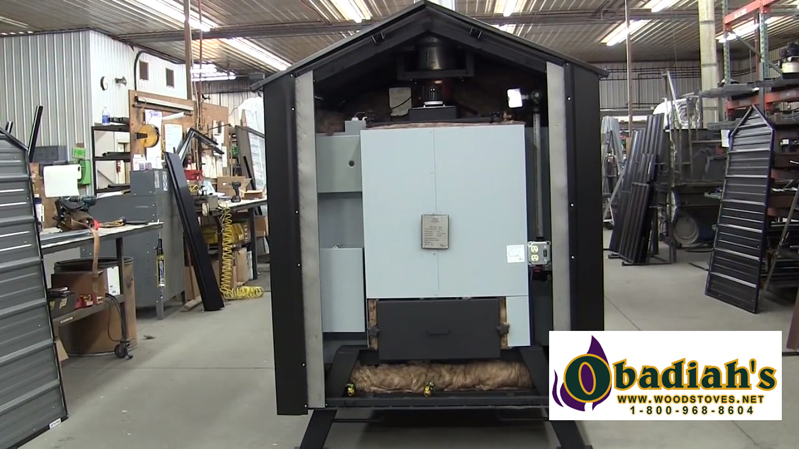 WoodMaster Cleanfire 400 EPA Outdoor Wood Boiler - back panel removed
